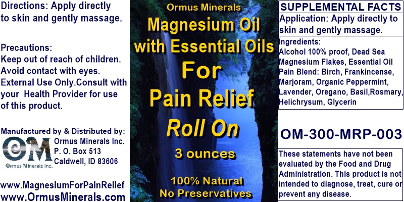 Ormus Minerals -Magnesium Oil with Essential Oils for Pain Relief Roll On