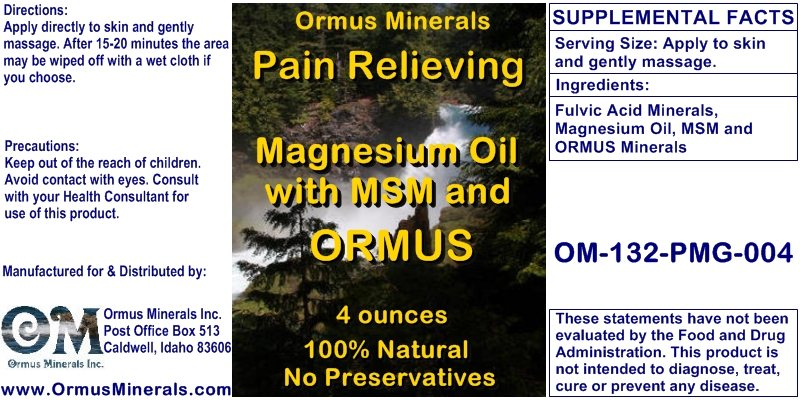 Ormus Minerals - Pain Relieving Magnesium Oil with MSM and ORMUS